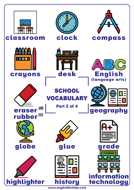 School vocabulary words - school supplies, classroom objects etc.