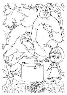 מאשה והדוב ציורים לצביעה