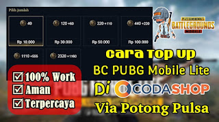 Cara Top Up BC PUBG Mobile Lite Di Codashop Via Pulsa