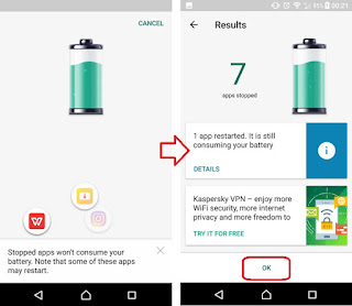 تطبيق Kaspersky battery life saver & booster