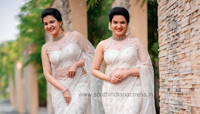 Honey Rose Pics In Transparent Off White Saree Photos