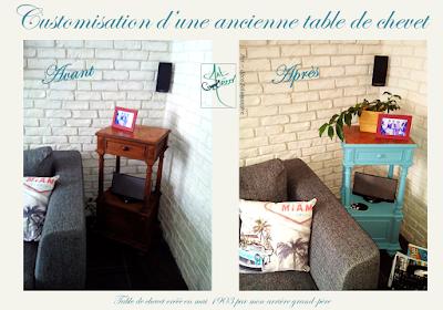 bleu vintage famille table chevet artdecosalamandre