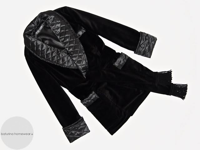 Mens black velvet smoking jacket warm robe quilted silk dressing gown