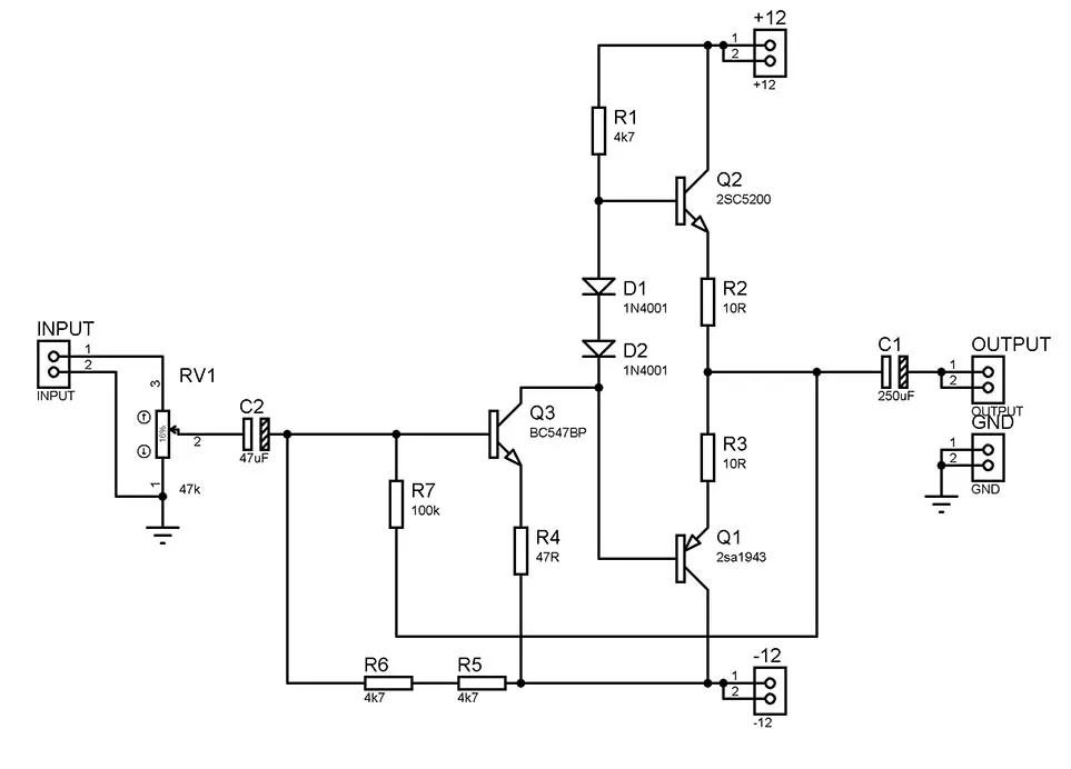 100 watts amplifier circuit diagram