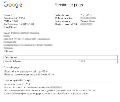 Como cobrar pago de adsense en colombia por western union for Oficina western union alicante