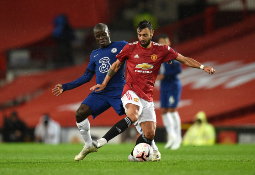 N'golo Kante and Bruno Fernandes will go toe-to-toe in this Sunday's blockbuster matchup