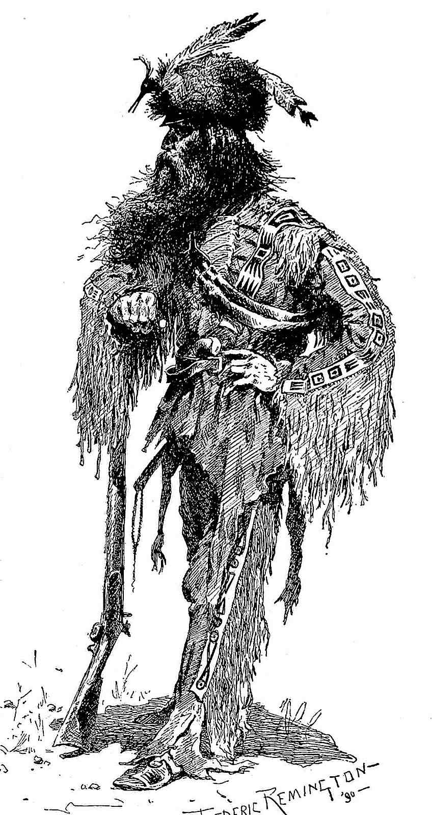 a 1990 Frederic Remington drawing of a USA frontier scout or hunter