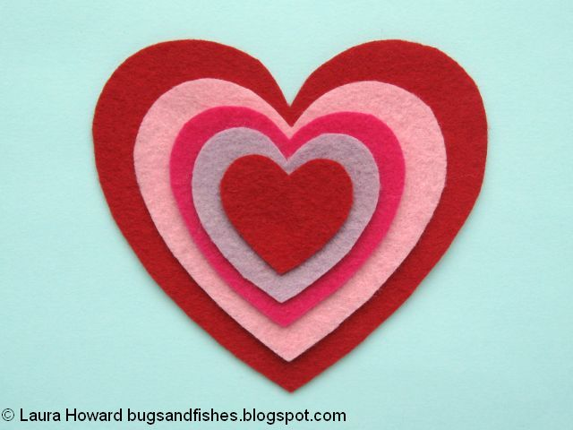 Layer the felt heart pieces
