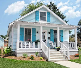 contoh gambar cat rumah biru minimalis