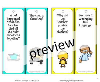 Back to School Joke Bookmarks