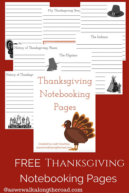 Free Thanksgiving notebooking pages