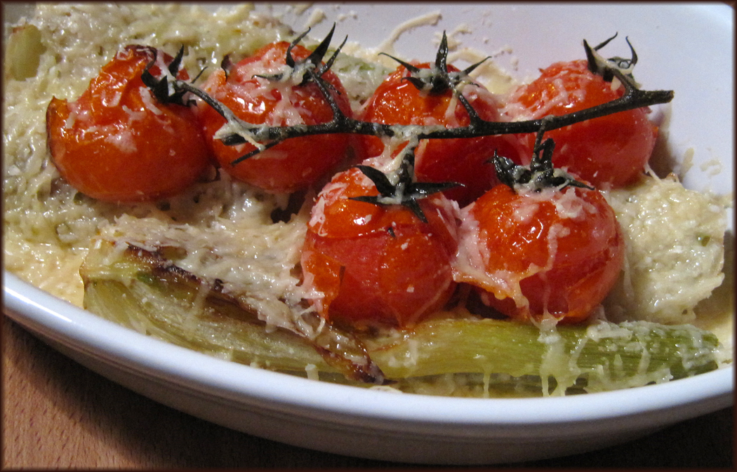 Roasted Fennel and Baby Tomatoes with Parmesan
