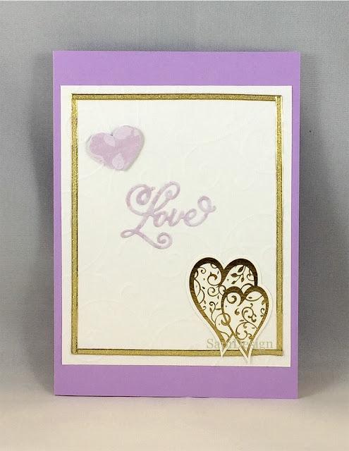 wedding card love gold lila hearts SapiDesign