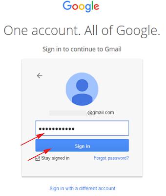 Masukan Password Akun Gmail