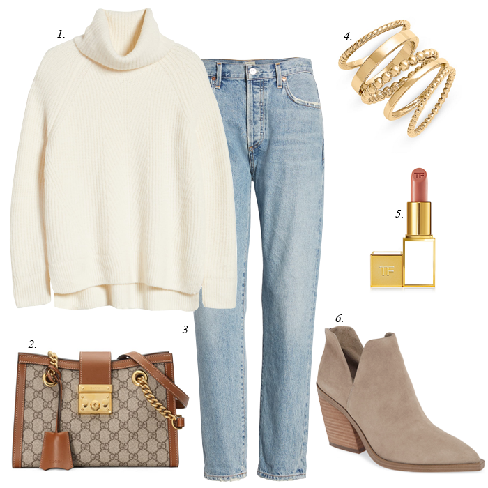 chunky white winter sweater slim light wash jeans suede ankle booties