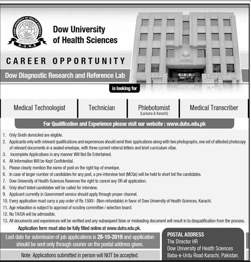 Jobs in Dow University of Health Sciences