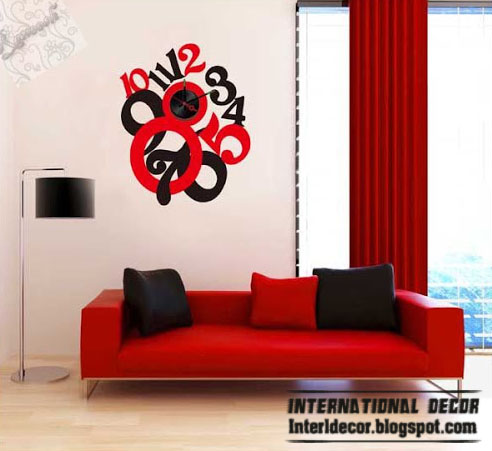Modern Wall Clock Sticker Red And Black Style