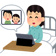 オンライン面会をする入院患者のイラスト(女性)