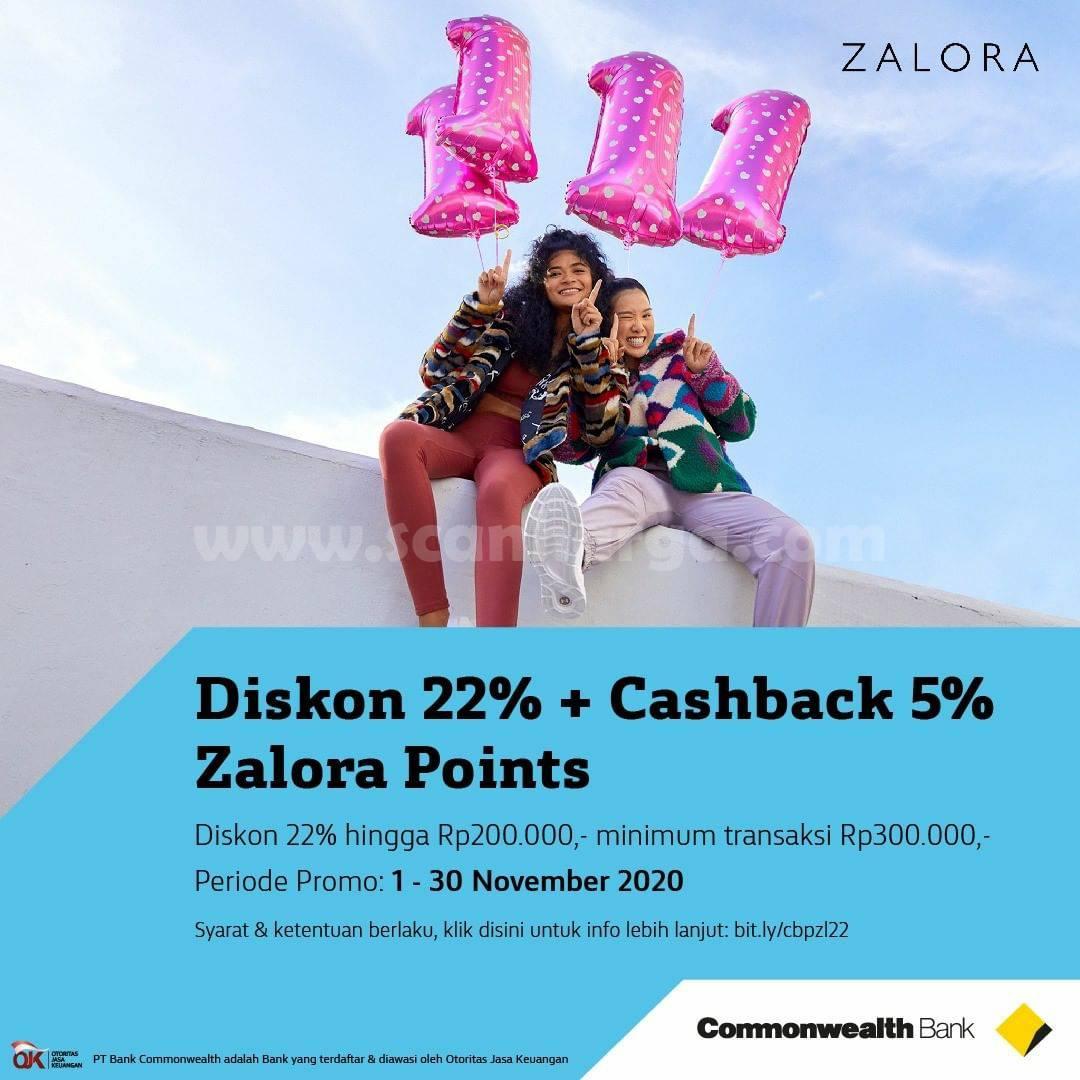 Zalora Diskon 22% + Cashback 5% dengan Kartu Debit Mastercard Bank Commonwealth