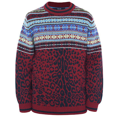 sibling london leopard print fair isle jumper