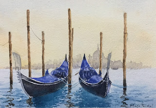 Watercolor painting of Gondola in Venice, created on Chitrapat handmade paper