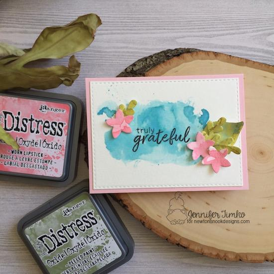 Watercolor Floral Card with die cuts by Jennifer Timko | Lovely Blooms & Shades of Autumn Stamp and Die Sets by Newton's Nook Designs #newtonsnook #handmade