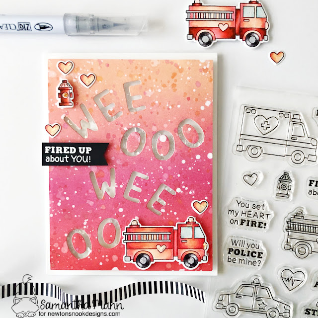 Ambulance Valentine card by Samantha Mann | Love Emergency Stamp Set and Essential Alphabet Die Set by Newton's Nook Designs