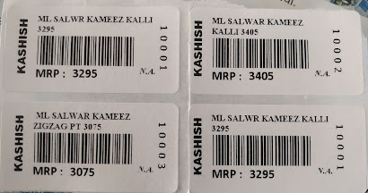 Label Printing for Apperal Stock with barcocde kashish garments