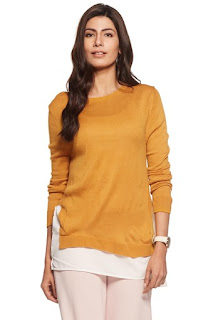 Rheson Womens Round Neck Colour Block Layered Top