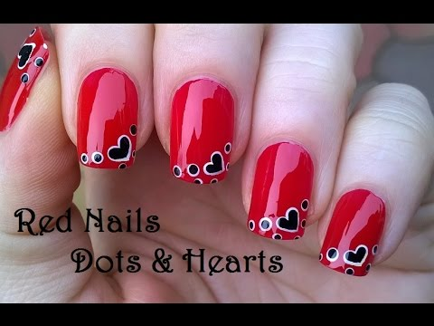 Dot Heart Red Nail