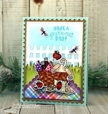 Have a Purr-fect Day by Larissa Heskett for Newton's Nook Designs using Newton's Picnic, Fence Die, Land Border Dies, Frames Squared Die Set and Framework Die Set