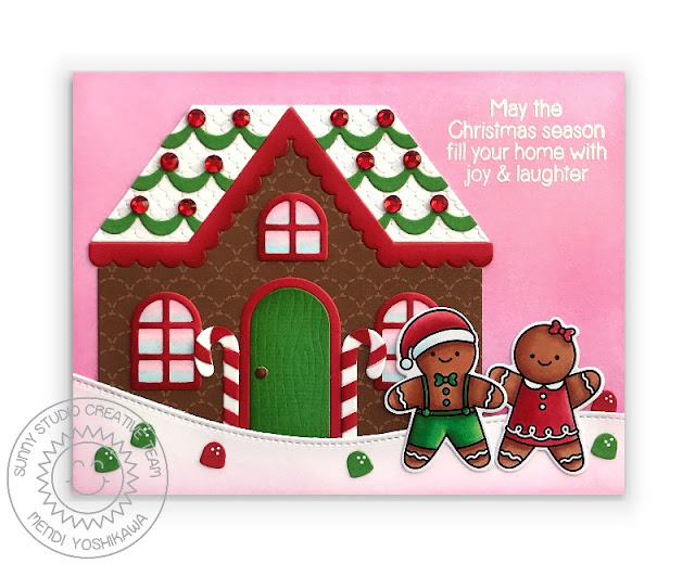 Sunny Studio Girl & Boy Card (using Christmas Cookies & Christmas Home Stamps, Slimline Nature Border, Icing Border & Gingerbread House Dies)