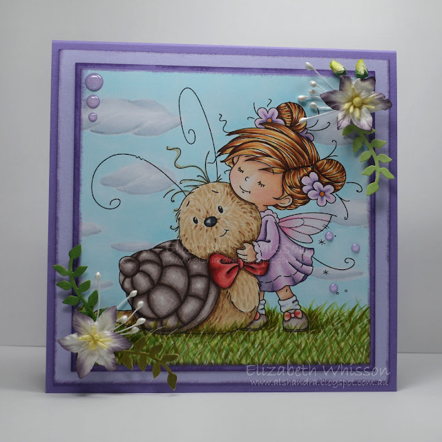 Elizabeth Whisson, Alshandra, Whimsy Stamps, Love you slow much, copic, snail, girl, purple, clouds, grass, outdoor background, copic tutorial