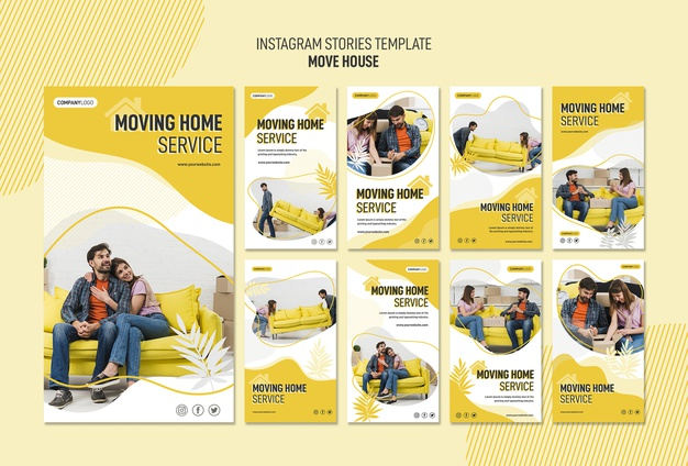 Instagram stories collection for house relocation services Free Psd