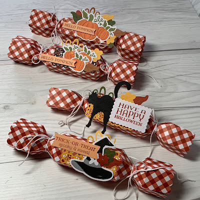 Four Cracker Box Treat Holders from a Paper Pumpkin Kit