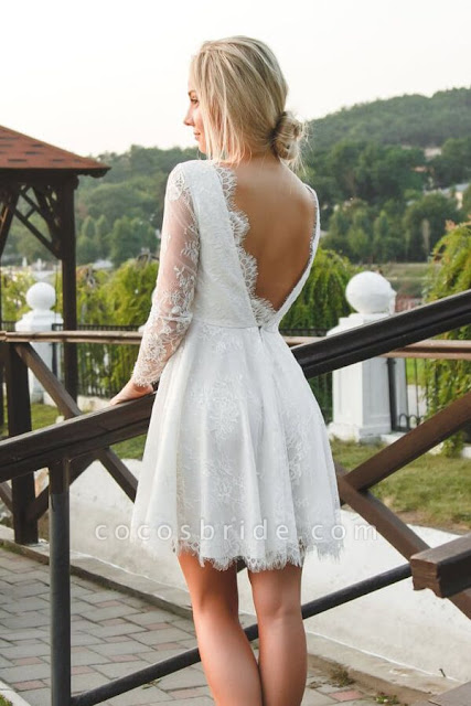 V-neck Long Sleeve A-line Lace Short Wedding Dress