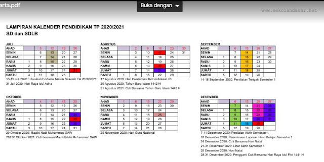 Kalender Pendidikan Tahun Pelajaran 2020/2021 Provinsi Yogyakarta