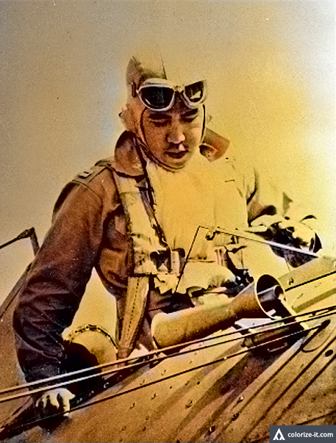 War hero Jesus Villamor, who fought off Japanese planes over Batangas Airfield.  Image source:  United States Library of Congress.