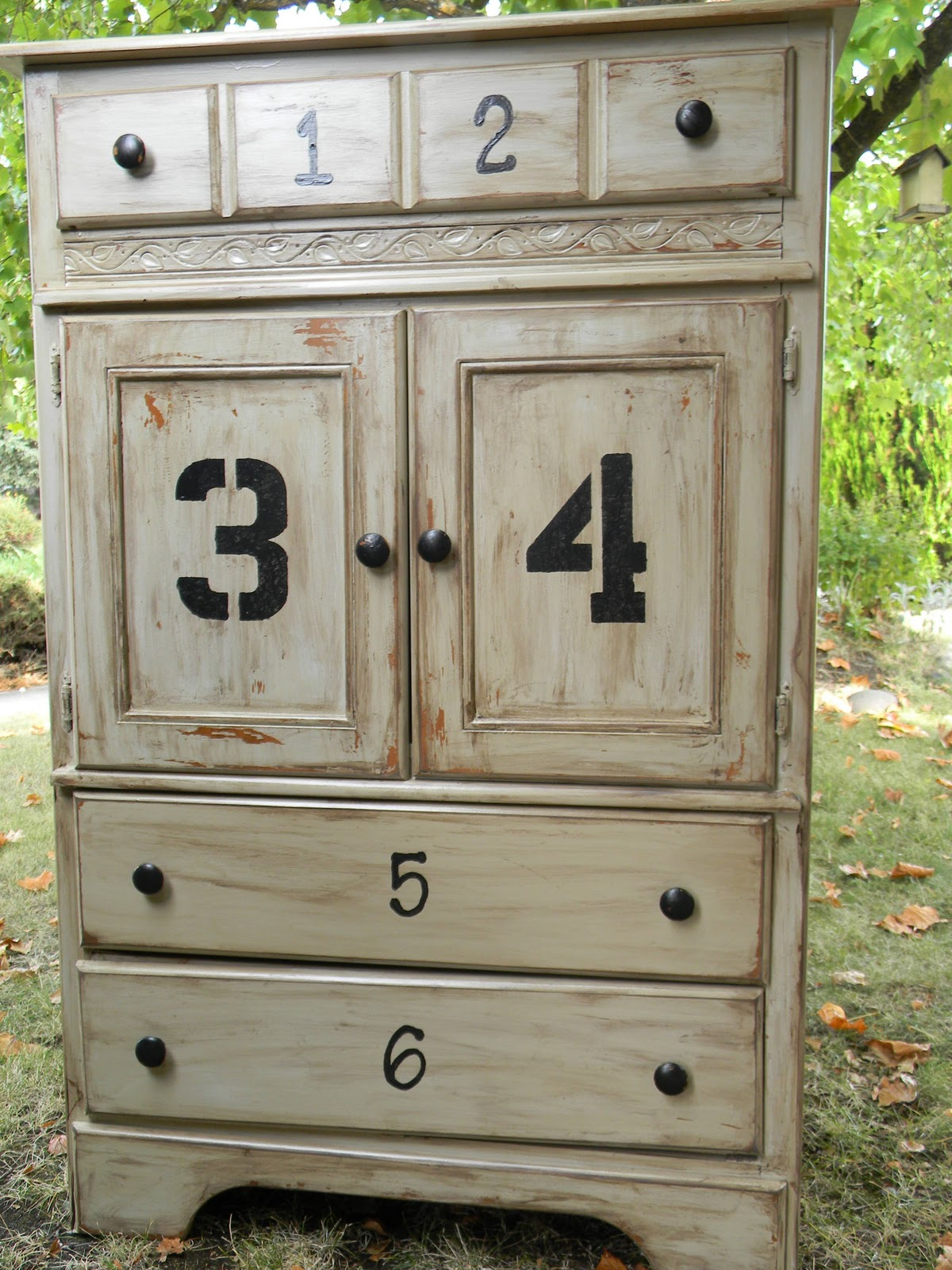 Emily S Up Cycled Furniture Tall Blue Grey Distressed Dresser: Emily's Up-cycled Furniture: Numbers Dresser