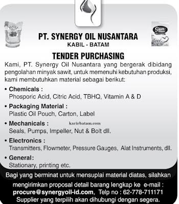 Lowongan Kerja PT. Synergy Oil Nusantara