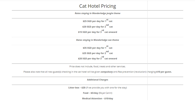 Cat hotels in Singapore