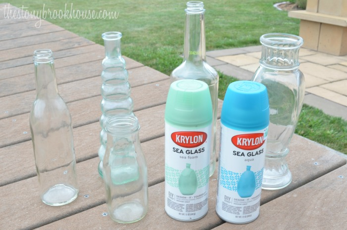 Sea Glass Painted Bottles