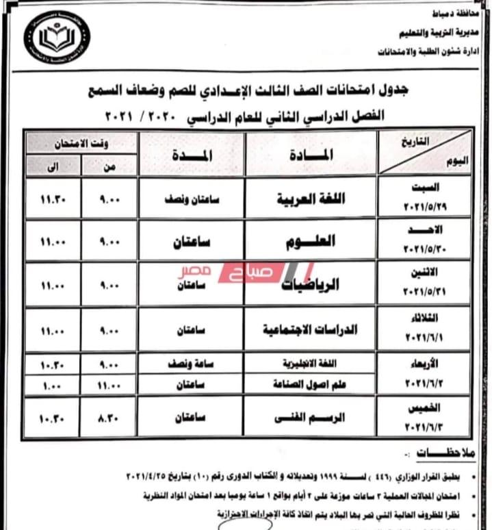 """جدول امتحانات الشهادة الاعدادية الترم الثاني 2021 """"جميع المحافظات"""" - صفحة 2 12"""