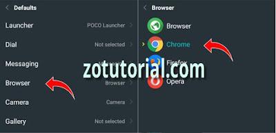 Cara Ganti Browser Bawaan Xiaomi menjadi Chrome lewat setting default Apps android by zotutorial.com
