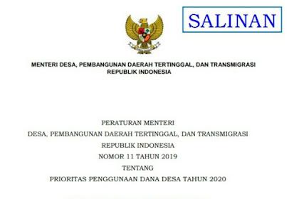 Permendes Nomor 11 Tahun 2019 tentang Prioritas Penggunaan Dana Desa 2020