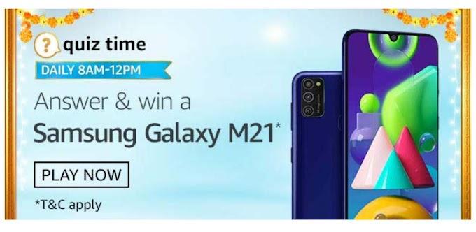 Amazon Quiz 30 September 2020 Answers win – Samsung Galaxy M21