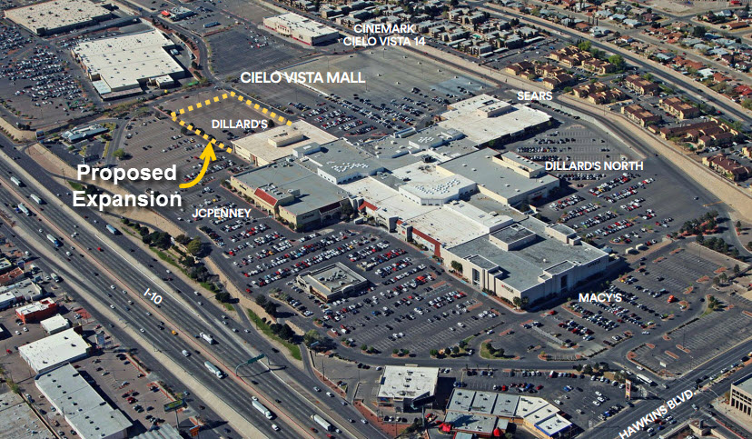 Situated on the East Side of the Franklin Mountains, Cielo Vista Mall is anchored by two Dillard's department stores, JCPenney, Sears, and Macy's plus features specialty stores.