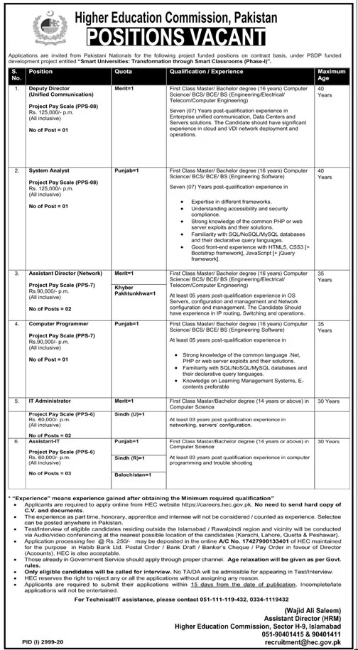 Higher Education Commission HEC Jobs