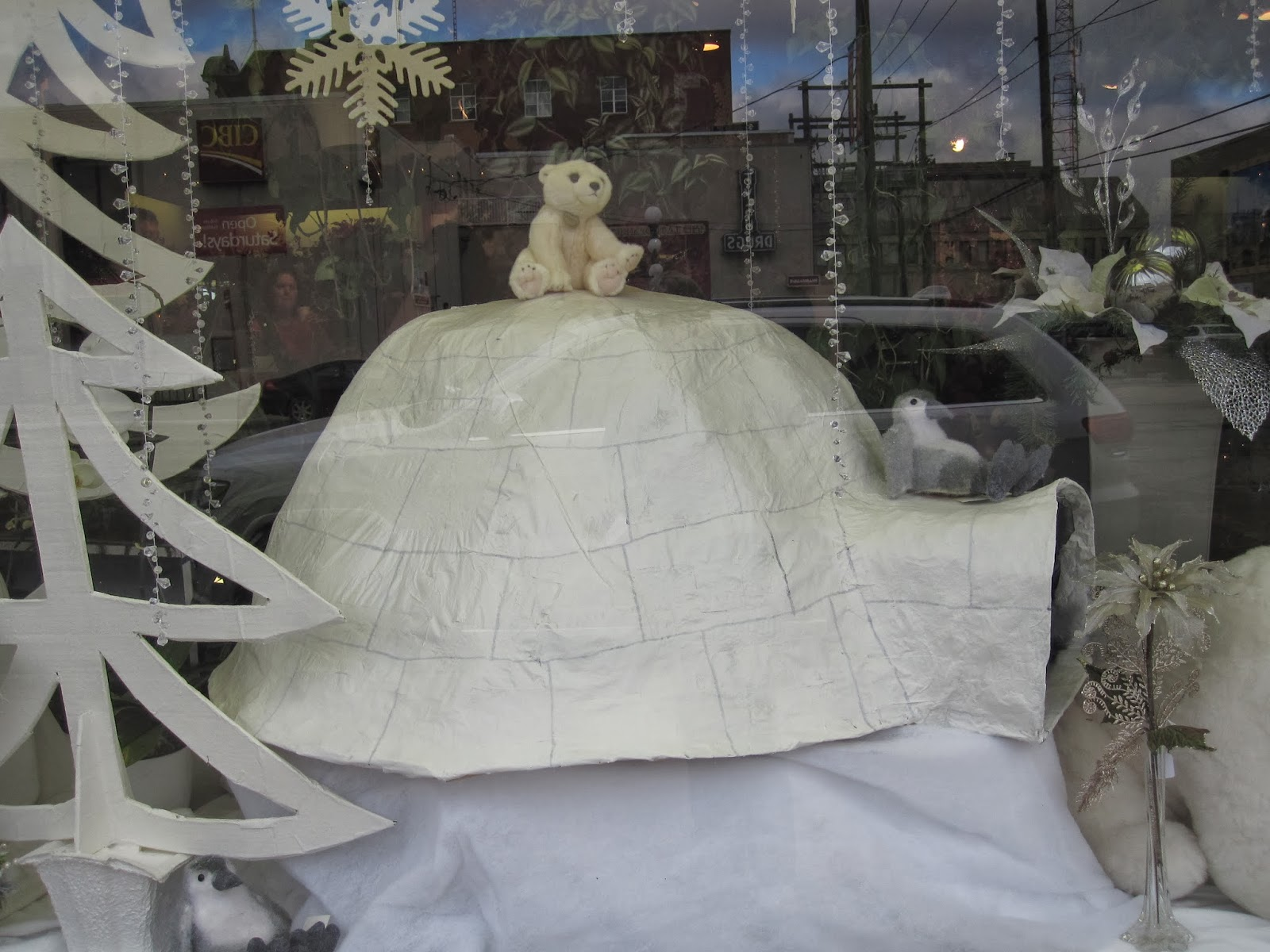 Flowers On The Roof Store Front Winter Window Display