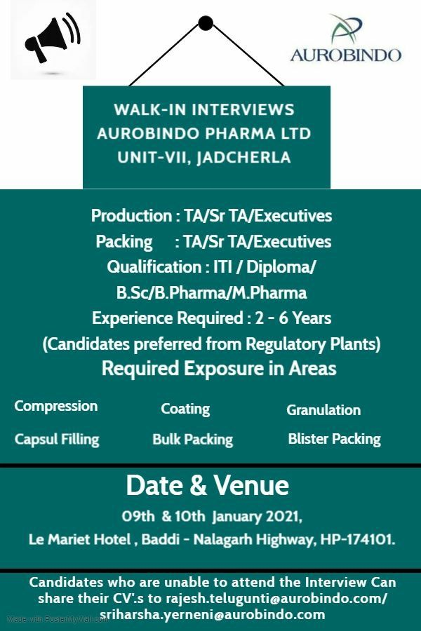 ITI / Diploma/ B.Sc/ B.Pharma/ M.Pharma  Job Vacancy Aurobindo Pharma Ltd Walk-In Interviews on 9th & 10th Jan' 2021 at  Baddi (H.P)